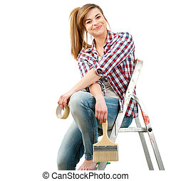 Cute female painter sitting on ladder. - Portrait of cute...