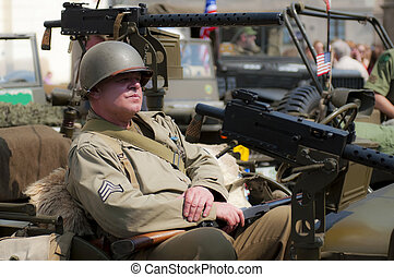 American Veteran - View of an American veteran during the...