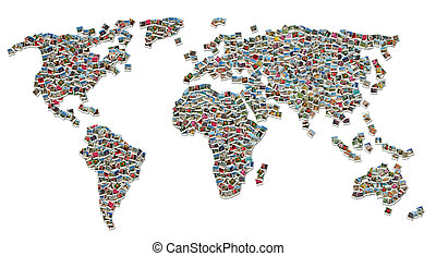 Collage of World Map made of colorful travel photos isolated...