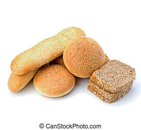 Bread loafs and buns variety
