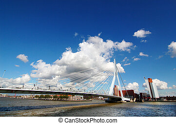Erasmus Bridge - Landscape of Rotterdam city, Netherlands