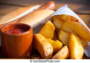 Hotdog menu with frenchfries