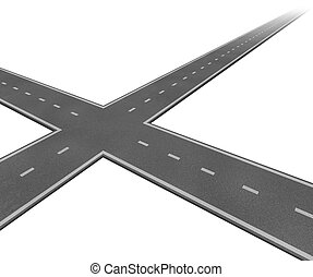 Crossroad Concept - Crossroad concept with two roads...