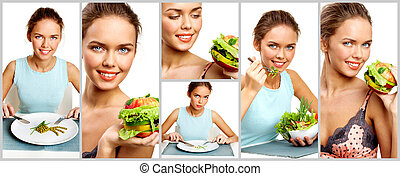 Young vegetarian - Collage of pretty young girl with...
