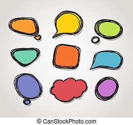 Abstract color hand-drawn speech clound