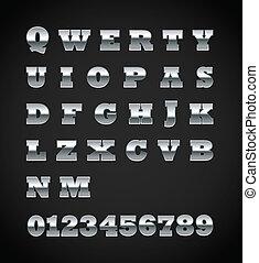 Set of matte metal letters on black