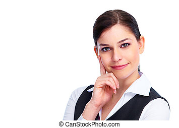 Young business woman - Young smiling business woman Isolated...