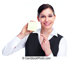 Woman with a business card.