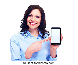 Young business woman with telephone - Young smiling business...