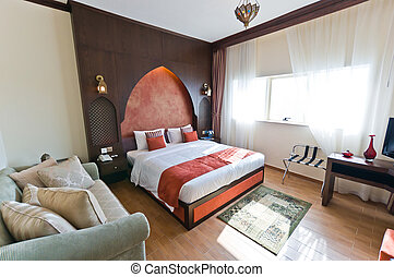 Interior of modern apartment - bedroom in  Oriental style