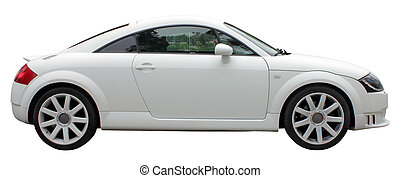 Small White Car - Small stylish car side view isolated on...
