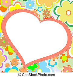 beautiful bright flower heart. vector card - beautiful...