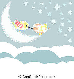 bird with love kiss in sky clouds vector