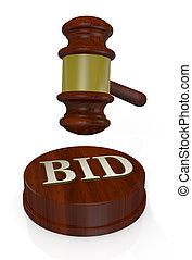 concept of auction - front view of a gavel, like those used...