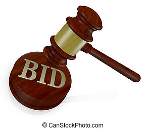 concept of auction - one gavel, like those used on...