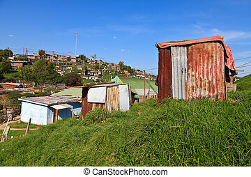 Township in South Africa - View of a township in South...