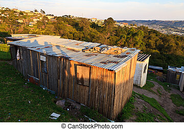 A house in a township in South Africa - Aerial view of a...