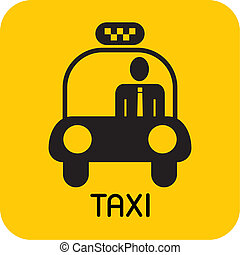 Taxi - vector icon. Black car image on yellow background.
