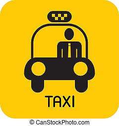 taxi, -, vector, icono