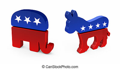 Democrat Donkey and Republican Elephant in 3D over white...