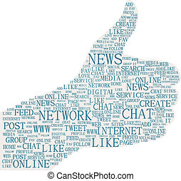 Illustration of the thumbs up symbol, social media
