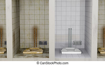 clean and dirty - front view of public bathrooms. they are...