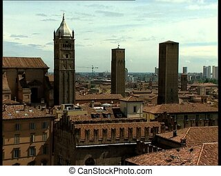 BOLOGNA view with towers bell tower - City view of the...