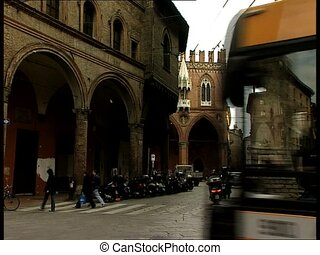 BOLOGNA pza mercanzia with traffic - Street view of italian...