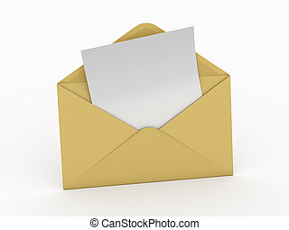 Mail. Envelope and empty letter. 3d - Mail. Envelope and...