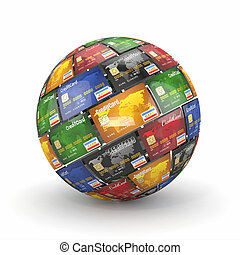 Sphere or globe from credit cards