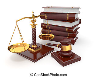 Justice concept Law, scale and gavel 3d