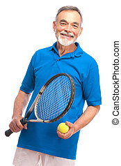 senior man with a tennis racket - Happy senior man with a...