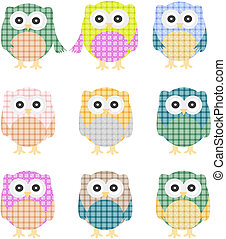 Vector of colorful owls isolated on white