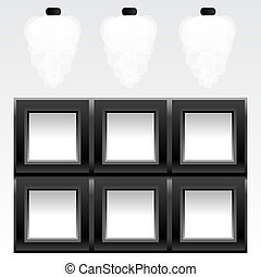 empty six frames on wall with light, vector