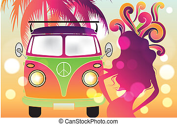 Retro flower power design with retro car, swirls and...