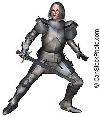 Elderly Mediaeval Knight Fighting - Elderly Mediaeval knight...