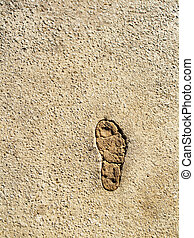Foot print  - Single foot print in a road - detail