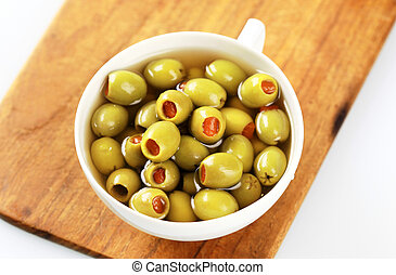 Green olives stuffed with pimento - Cup of green olives...