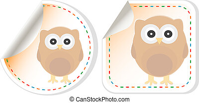 cute owl scrapbooking elements sticker - holiday label set -...