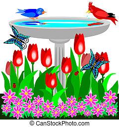 Birdbath and tulips