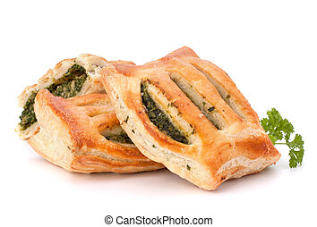 Puff pastry bun isolated on white background Healthy patty...