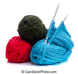 Woollen thread and knitting needle. Needlework accessories.