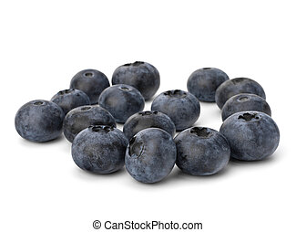 Bilberries or whortleberries cutout isolated on white...