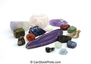 Gemstones - amethyst, pink quartz, sodalite and aquamarine...