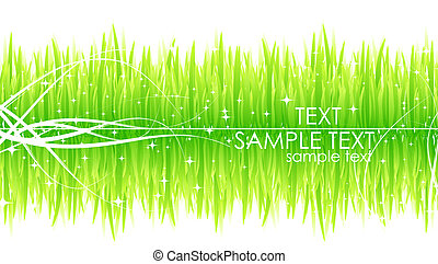 Grass background - Nature vector background. Fresh green...