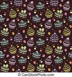 Seamless cupcake pattern - Vector illustration, color full