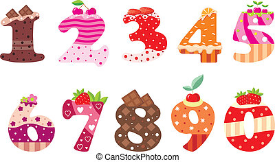 Sweet numbers - Vector illustration, color full