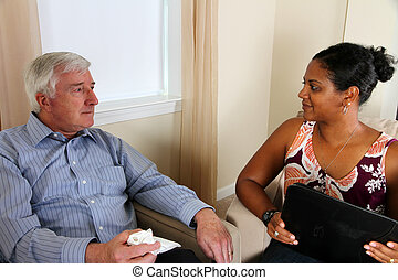 Man in Counseling - Senior Man in Counseling Session with...