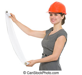 Smiling architect woman with open flip chart isolated