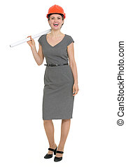 Happy architect woman with flip chart isolated